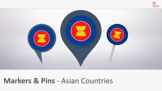 Markers & Pins Asian Countries